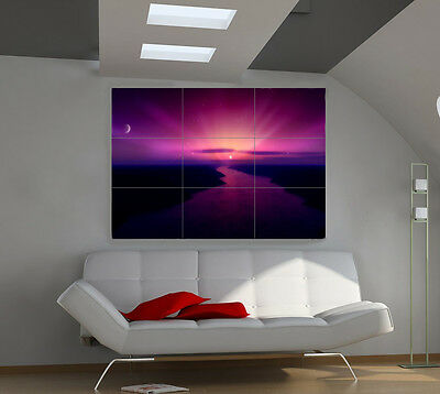 3-dimensional Sunset large giant 3d poster print photo mural wall art ia168