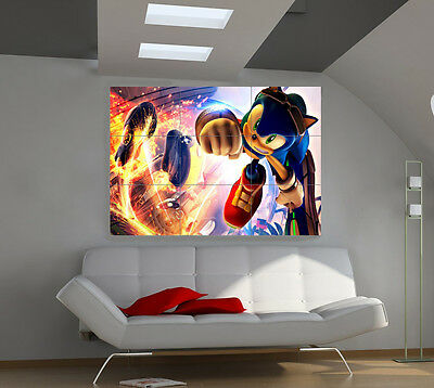 Super SONIC large giant games poster print photo mural wall art ii198