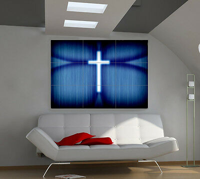 Shining Cross large giant 3d poster print photo mural wall art ia147