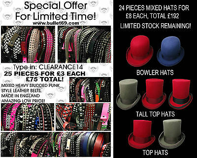 Limited Mixed Lot Of Punk Studded Belts And Mixed Top Hats Clearance Offer