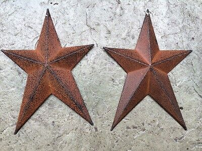 (Set of 2 )  WHIMSICAL RUSTY BLACK BARN STARS 8 INCHES PRIMITIVE COUNTRY ANTIQUE