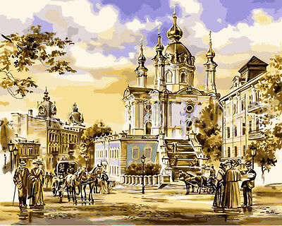 Acrylic Painting By Numbers Kit Canvas Andrew's Church 50*40cm S5 8136 AU STOCK