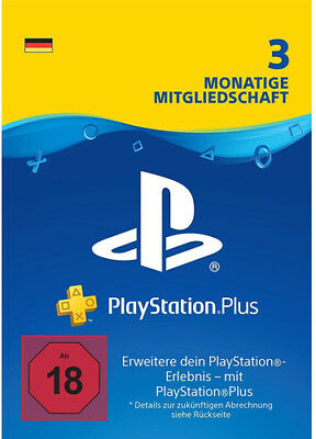 DE PlayStation Plus 3 Monate [90 Tage] Karte Key Code PSN PS4 PS3 PSP