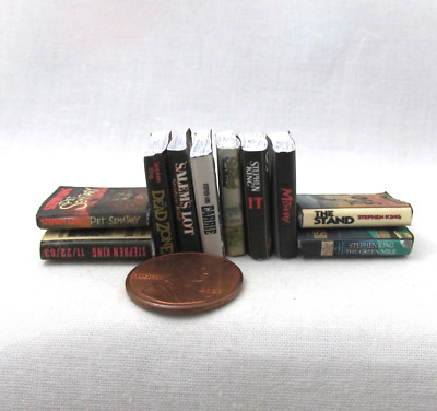 10 STEPHEN KING Miniature Books Set 1:12 Scale Dollhouse Prop Faux Books