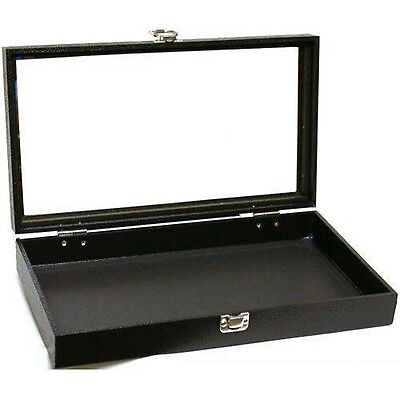 Black Glass Top Travel Jewelry Display Case Watches Rectangle Latch Accesorries