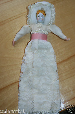 Porcelain Doll with Beautiful Off White Long Dress with Pink Ribbon EXCELLENT