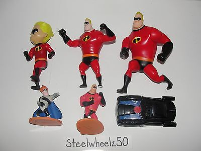 McDonalds Incredibles 6 Toy Lot Disney Pixar 2004 2005 Mr Incredible Dash Car