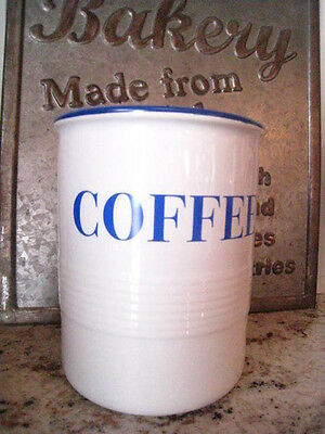 Vintage ENAMOUR Mason Cash COFFEE CROCK/CANISTER Made in England Blue & White