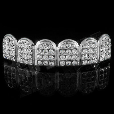 14K White Gold ICED OUT CZ Teeth Top Silver GRILL Set JOKER Tooth Bling Grillz