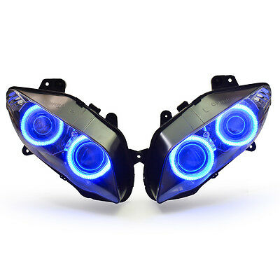 KT LED Angel Halo Eye Headlight Assembly for Yamaha R1 2004 2005 2006 Blue Angel