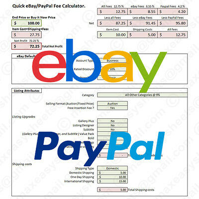2016 eBay PayPal Fees Calculator, Simple Fee Calc Excel Spreadsheet Tool (US)
