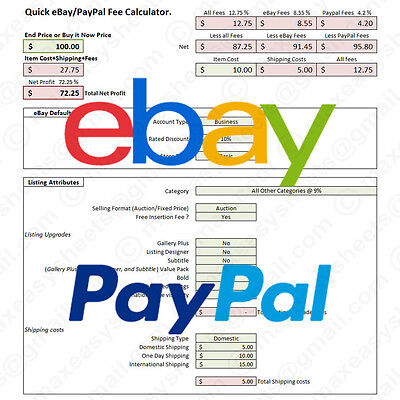eBay PayPal Fees Calculator, Simple Fee Calc Excel Spreadsheet Tool (US)