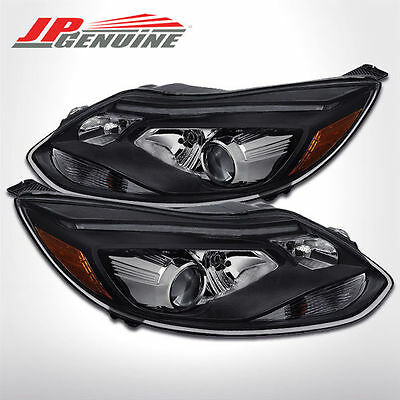 Led Crystal Style Replacement Projector Headlights Black - Ford Focus 12-14