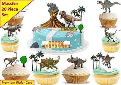 JURASSIC PARK DINOSAURS Edible Scene Cup Cake Scene Toppers STAND UP CUSTOM