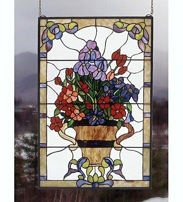 "Meyda Lighting 51721 24""W X 36""H Floral Arrangement Stained Glass Window"