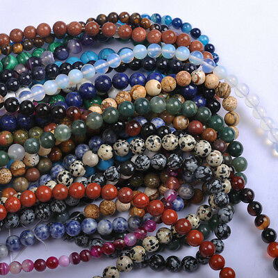 Wholesale Natural Gemstone Round Charms Spacer Loose Beads 4MM 6MM 8MM 10MM 12MM