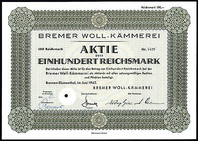 Germany: Bremer Woll-Kammerei, 100RM share, 1942, ex Barov