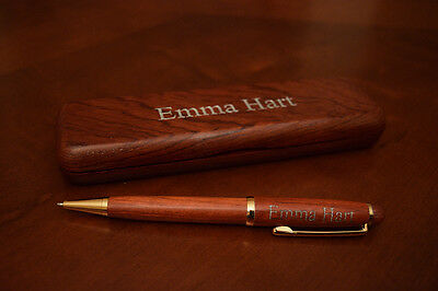 Personalized Custom Engraved Rosewood Pen with Case and Optional Engraving Color