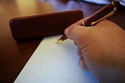 Custom Engraved Rosewood or Maple Pen and Case with Elegant and Stylish Border