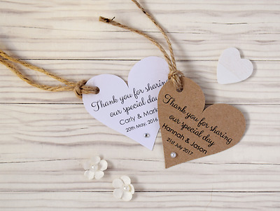 Personalised Wedding Favour Heart Thank You Tags with Pearl or Diamante