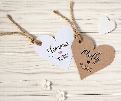 Personalised Heart Shaped Wedding Place Name Card Tags