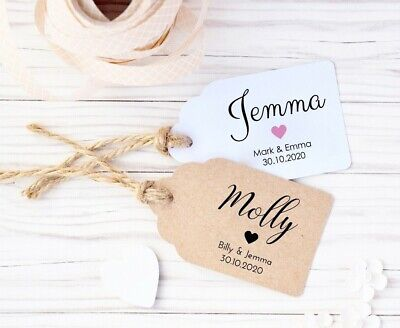 Rustic Personalised Wedding Place Name Card Tags