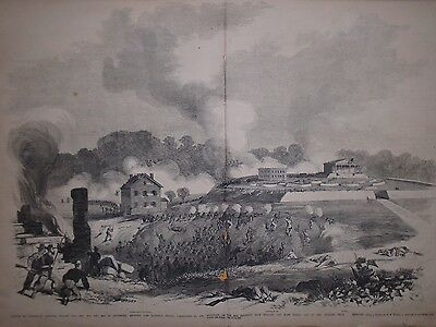1861 Leslie's Weekly Centerfold - Battle of Lexington MO-Mulligan engages Price