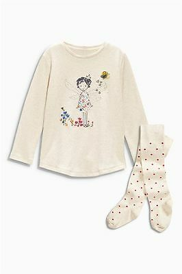 Bnwt NEXT Oatmeal Princess Fairy Top and Spotty Tights Set 3-4-5yrs