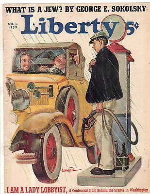 1939 Liberty April 1 Cover - Filling Station and Gas Pump and Model A Ford
