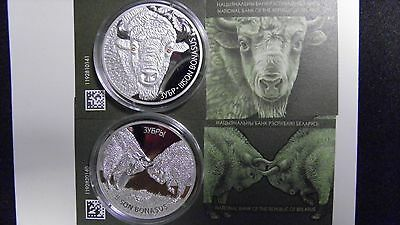 2012 Belarus 20 Roubles Bison Silver Proof coin Set w/ CoA ( 2 Coins)