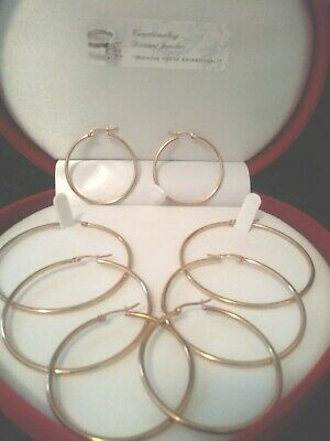 14KT ROSE GOLD PL SNAP BACK HOOP EARRINGS + GIFT perfect 1 inch not hollow!!