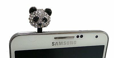 Lovely Panda Crystal Rhinestone 3.5mm Dust Plug For Samsung Galaxy Note 5 4 3 2