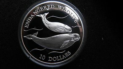 1992 Niue $10 Whales Silver Proof coin