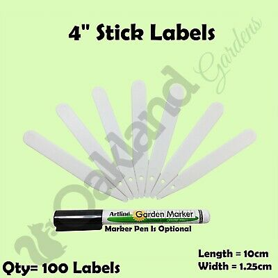 """100 x 4"""" White Plant Stick In Labels 10cm Plastic Seed Tray Garden Marker Pen"""