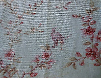 Antique  French Bird Insect Blossom Floral Cotton Fabric ~ Lavender Rose Pink