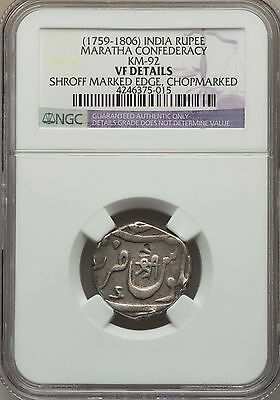 1759 - 1806 India Rupee Maratha Confederacy NGC VF, KM 92, Chakan Very Scarce