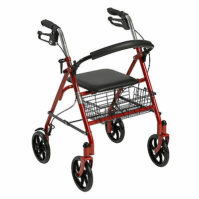 Drive 4-Wheel Rollator Walker w/Fold Up Removable Back Support, Red, Seat Curved