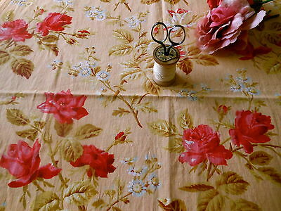 Antique 1800's Early Roses Daisy Floral Cotton Fabric ~ Rich Pink Olive Apricot