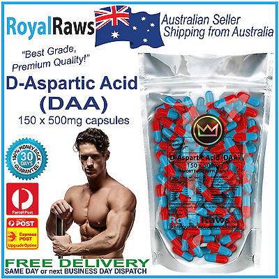 DAA Aspartic Acid 150 x 500mg capsules strength fat testosterone testicles loss