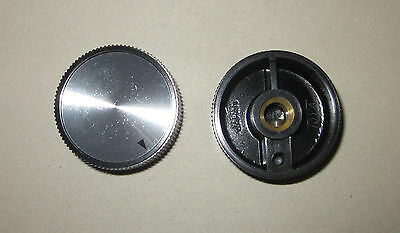 "NOS Toya Round Knob, Gloss Black w/ Arrow Indicator Inlay, 1/4"" Shaft"