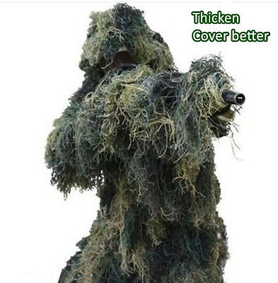 Thicken Ghillie Suit Sniper Camo 3D Woodland Camouflage Forest Hunting 4 PC+ Bag