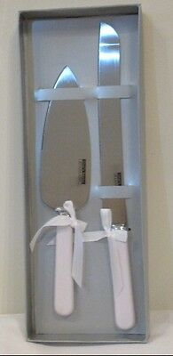 Cake Knife and Server Set White Handles With Ribbons Wedding, Anniversary