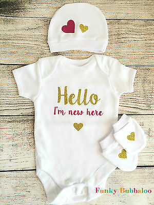 New Baby Coming Home Outfit, Bodysuit and Hat, Newborn Shower Gift Take Home