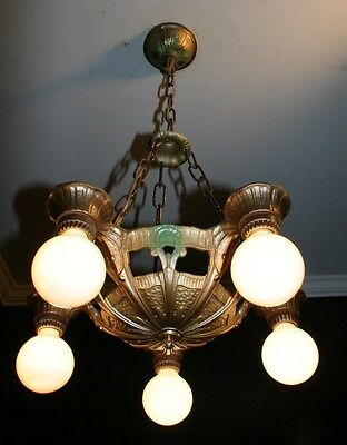 Antique 1930s cast aluminum polychrome light fixture ceiling chandelier lincoln