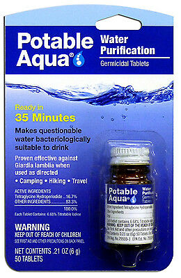 Potable Aqua Water Treatment Tablets Iodine hiking, camping survival gear safety