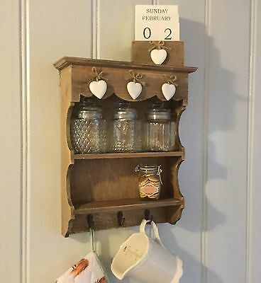 Rustic Wood Mini Dresser Wall Shelf Vintage Chic Country Kitchen Hook Spice Rack