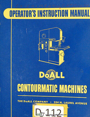 Doall 26-3-60-3, Contourmatic Operations and Maintenance Manual