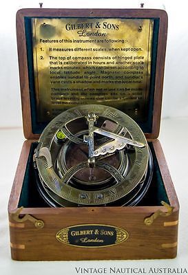 Sundial Compass - Gilbert & Sons Round Vintage Brass Antique (Rosewood Box)