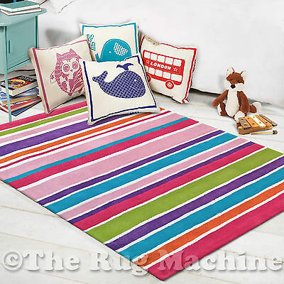DREAM KIDS STRIPES GIRLS COLOURS THICK COTTON FUN FLOOR RUG 100x140cm **NEW**