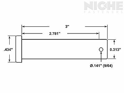 Clevis Pin 5/16 x 3 Low Carbon Steel (100 Pieces)